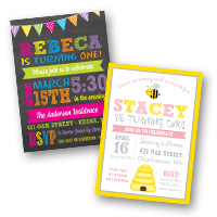1st Birthday Invitations Girls