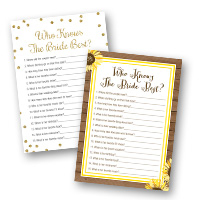 Bridal Shower Games Who Knows The Bride Best Cards