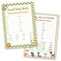 Baby Shower Games Animal Match Cards