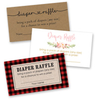 Baby Shower Games Diaper Raffle Cards