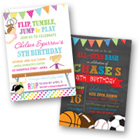 Popular Invite Themes Sports & Gymnastics