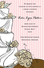 Sweet Wedding Cake Floral Decoration Invitations