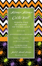 Chevron Spiders Halloween Green Invitations