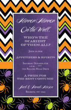 Chevron Spiders Halloween Purple Invitations