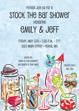 Watercolor Cocktails Bar Invitations