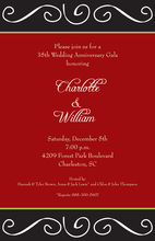 Holiday Scroll Red Invitations