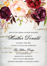 Watercolor Roses Rustic Wood Invitations