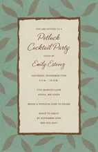 Falling Leaves Green Sage Border Invitations
