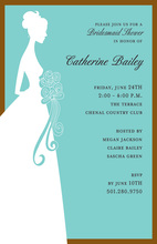 Teal Married Bliss Bridal Shower Invitations