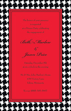 Holiday Houndstooth In Red Invitations