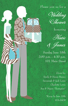 Green Silhouette Couple shower Invitations
