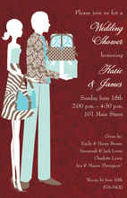 Red Silhouette Couple Invitations