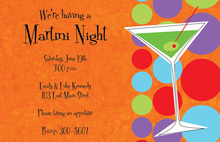 Martini Night Orange Invitations