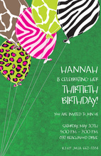 Wild Balloons Green Invitations