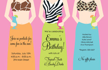 Animal Print Beach Girl Invitations
