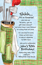 Green Plaid Golf Bag Invitations