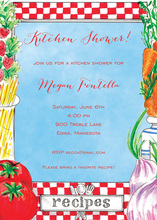 Kitchen Recipe Blue Invitations