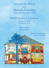 Wrapped Ribbon Home Shower Invitations