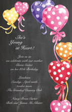 Chalkboard Polka Dots Hearts Invitations