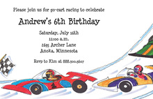 Race Car Zooming Speedway Invitations