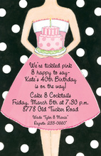Birthday Girl Black Dots Invitation