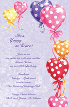 Polka Dots Hearts Balloon Invitations