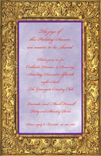 Hand Etching Golden Frame Invitations