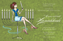 Classic Menorah Girl Invitations