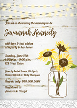 Wooden Sunflower Light Invitations