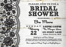 Rustic Wooden Lace Bridal Shower Invitation