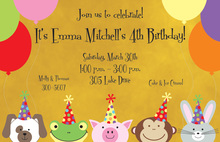 Five Little Animals Invitation