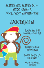 Swim Monkey Birthday Invitations