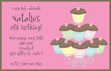 Mocha Cupcake Tree Birthday Invitations