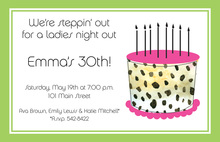 Leopard Cake Lady Birthday Invitation