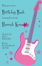 Pink Electric Guitar Superstar Invitations