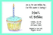 1st Birthday Blue Cupcake Invitation