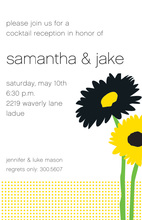 Flower Glow Yellow Black Invitation
