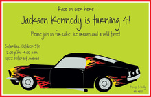 Fancy Flame Car Invitations