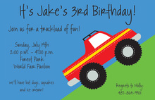 Climbing Red Truck Black Wheels Invitation