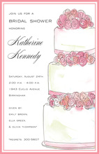 Pink Rose Layers Traditional Invitations