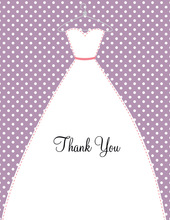 Stitched Bride White Polka Dots Thank You Cards