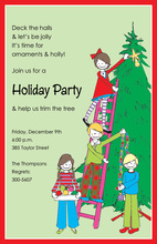 Kids Decorating Christmas Tree Invitation