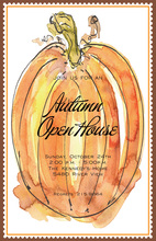 Big Watercolor Pumpkin Invitations