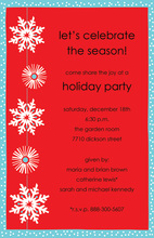 Modern Snowflakes Icy Red Invitations