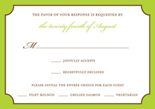 Lime Bookplate RSVP Cards