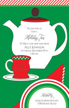Holiday Tea Time Red Green Invitations