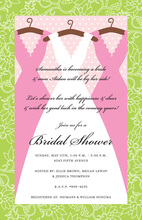 Pink Gown Dresses Wedding Shower Invitations