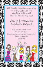 Cute Bride-to-be Damask Border Invitations