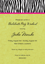 Sweet Wild Zebra Banded Green Invitations