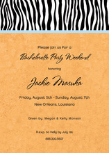 Sweet Wild Zebra Banded Orange Invitations